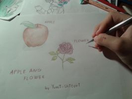 APPLE AND FLOWER by Yumi-Shitori by Yumi-Shitori