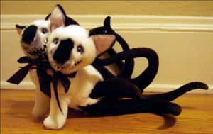 Siamese Cats- Two Headed Kitty Tentacle Monster by RebeccaStefun