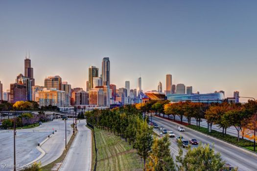 Chicago skyline at sunset HDR by CyclicalCore