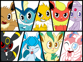 Htf Eevee and the Eeveelutions by Elica1994