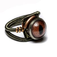 Reptile steampunk eye ring by CatherinetteRings