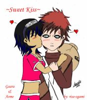 Sweet Kiss, Gaara and Aome for Aomehigurashi258 by risa-ogami