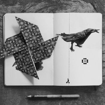 Origami Pinwheel and Crow Illustration by kevin-roque