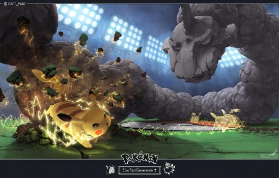 ( edit ) EPIC FIRST GENERATION - Pikachu VS Onix by ICart-Paint