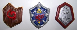 Ocarina of Time Shields Fridge Magnets by gummiberri