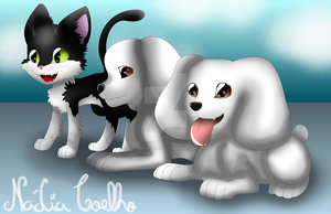Two Poodles and a Cat by NadiaCoelho