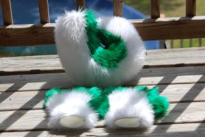Green and White Paws and Tail by DressedAllInFurWorks