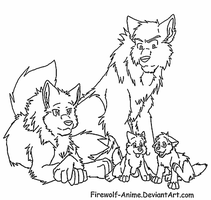 Wolf Family Lineart by Firewolf-Anime