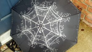 Lacy Spider Web Neo Victorian Umbrella by CyberFreakedd