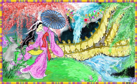 Japanese Screen Painting by Tifanie
