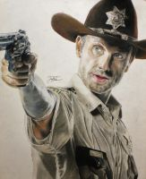 Rick Grimes Colored Portrait by JoaoMoita182
