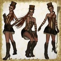 Sassy Steampunk Ladies 03 by Just-A-Little-Knotty