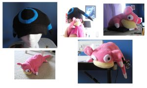 Slowpoke and shiny umbreon hat by Mad-March