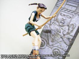 young Lara papercraft vignette close-up by ninjatoespapercraft