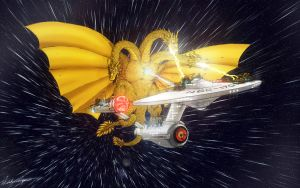 King Ghidorah vs. NCC-1701 by nickagneta