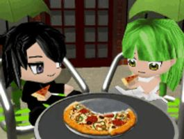 lelouch and C.C eating pizza.. by kur0nek013