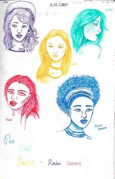 Colored Pen Portraits - Sketchbook Series 11 by renllaw