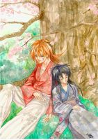 rurouni kenshin watercolor by meomeoow