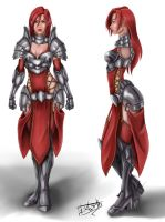 Redhead female Warrior Concept (Front and Side) by inochisidarta