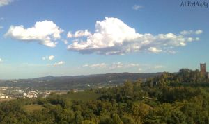 cloud, hill, tower by ALExIA483