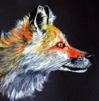 Fox Profile Painting by Ljtigerlily