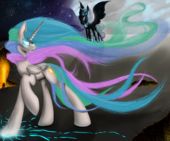 Celestia vs Nightmare moon by Santagiera