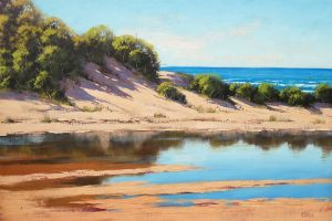 Coastal Sand Dunes Painting by artsaus