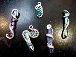 Glass and Silver Pendants by DoodlePixie