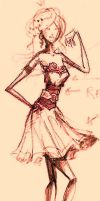 SKETCH - Dress design for my next drawing by BellaMira
