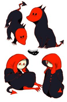 (closed) red and black demon friends by babezord