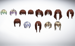 MMD Hair Front Pack 5 by amiamy111