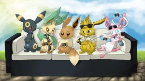 Gamer Eeveelutions in a couch (Commission) by BlackySpyro