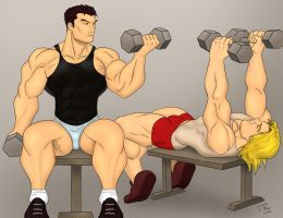 Ryu and Ken - The Workout by mystery79