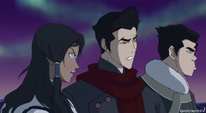 Korra, Mako, and Bolin by hamstermermaid