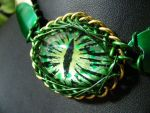 Green dragon eye with scales by BacktoEarthCreations