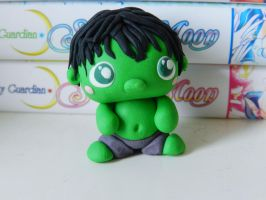 The incredibly cute Hulk (fimo) by NekoIsy