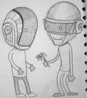 Daft Punk robots sketch 2 by tomatorama