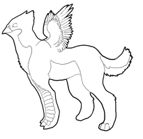 free baby griffin lineart by Assassin2294