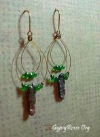 Green Bead and Pearl Earrings by che4u