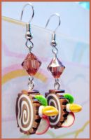 Chocolate Cake Roll Earrings by cherryboop
