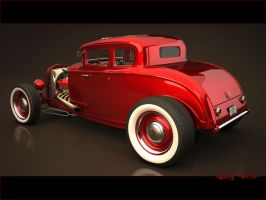 3D Ford Hot rod, back view by StkZ613