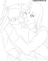 NaruHina Hug - Simple lineart by florixnero