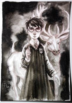 Harry and His Patronus Charm by feliciacano