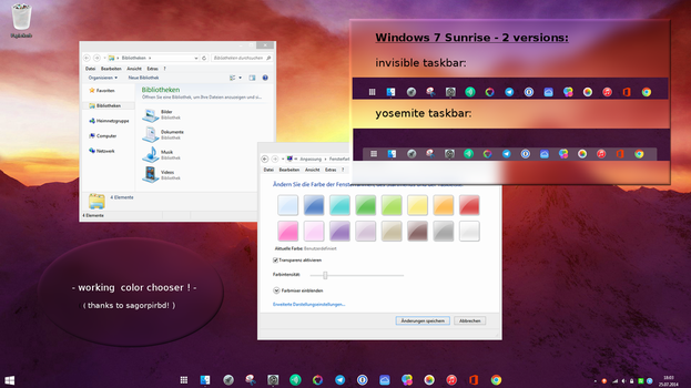 Windows 7- invisible / transparent taskbar theme by Dave2399