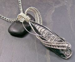 Orthoceras Fossil Wrapped Lattice Pendant by HeatherJordanJewelry