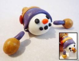 Polymer Clay Snowman Pendant by Saru-Hime