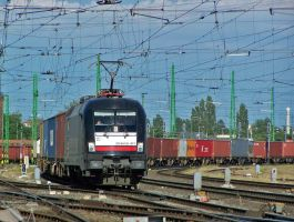 Black dispolok taurus with container train in Gyor by morpheus880223
