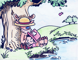 Calvin and Hobbes Style: Luffy and Chopper by thebrittanylee