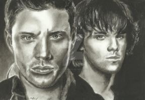 Supernatural drawing the Winchester brothers by MelieseReidMusic