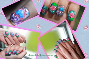 Briar Rose nail design-Inspired by disney's Aurora by Psycho--Princess